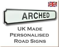 Personalised Arched Shape Wooden Street Sign White & Black Letters